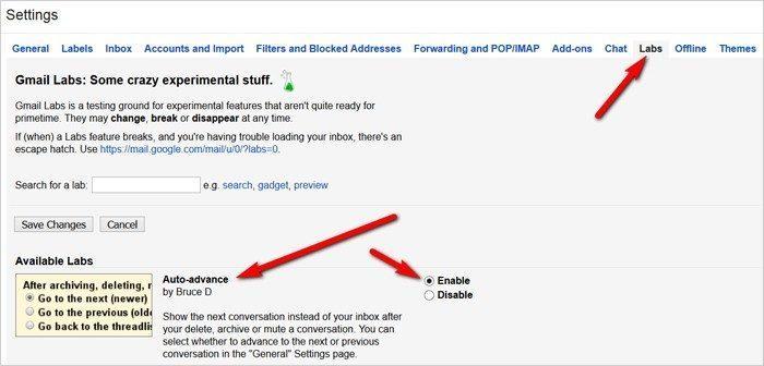 Gmail tricks and hacks - auto advance