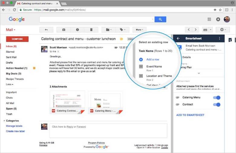 Smartsheet Gmail App